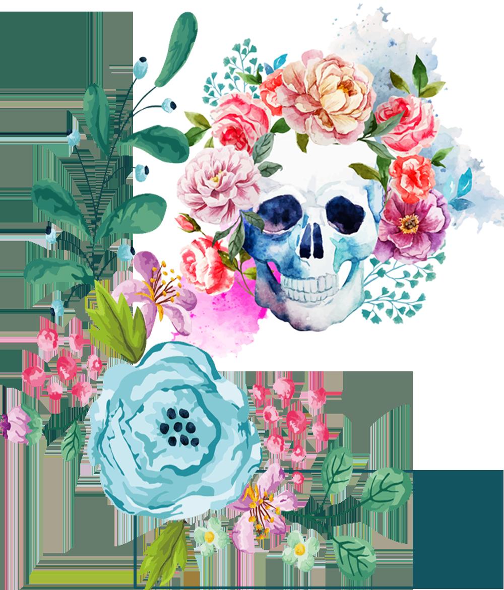 Flowers & Skull